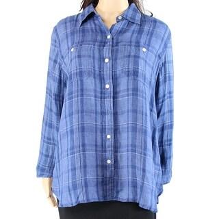 Lauren By Ralph Lauren NEW Blue Womens Size Small S Button Down Shirt