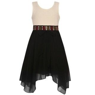 Girls Ivory Black Angled Hem Ribbon Back Accent Christmas Dress