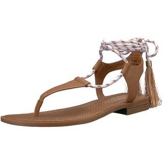 Nine West Womens Gannon Leather Open Toe Casual T-Strap Sandals