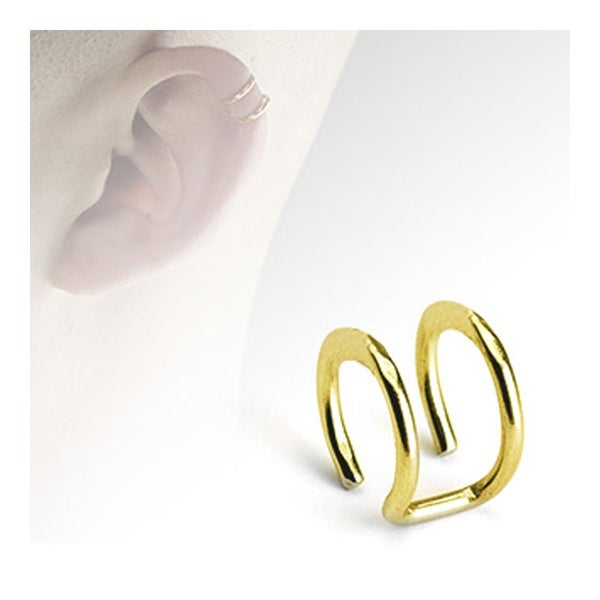 Gold Plated Surgical Steel Fake Cartilage 'Clip-On' Double Closure Ring (Sold Ind.)