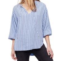 Free People Blue Womens Size Large L Striped Split Neck Blouse