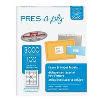 PRES-a-ply Permanent-Adhesive Address Labels For Laser and Inkjet Printers, 1 x 2-5/8 in, White, Box of 3000