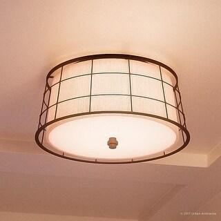 "Luxury Craftsman Flush Ceiling Light, 9""H x 16""W, with Classic Style, Drum Design, Dark Bronze Finish"