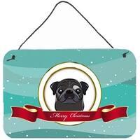Black Pug Merry Christmas Wall and Door Hanging Prints