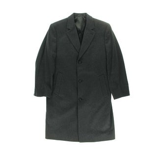 London Fog Mens Wool Blend Notch Collar Top Coat - 40R