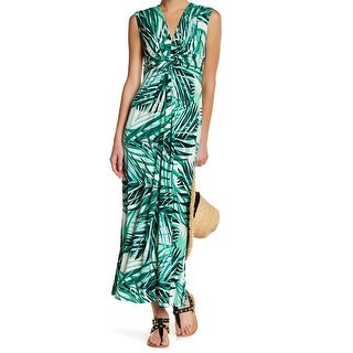 Eliza J NEW Green Women's Size 4 Twisted Front Floral Maxi Dress