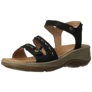 Acorn Womens Vista Ankle Leather Beaded Wedge Sandals