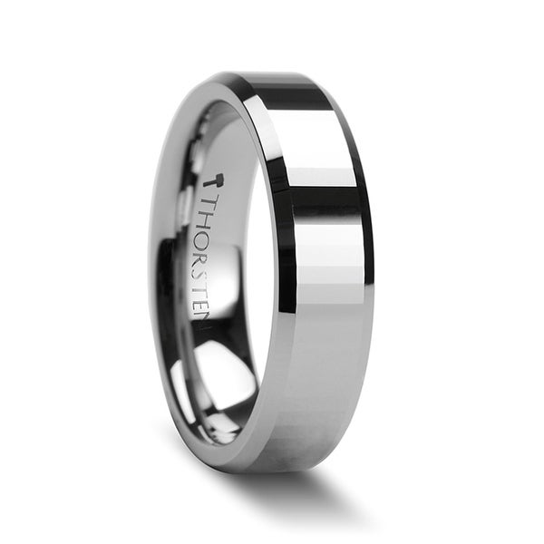 THORSTEN - TEREZZA Beveled Tungsten Carbide Wedding Ring with Narrow Rectangular Facets - 6mm
