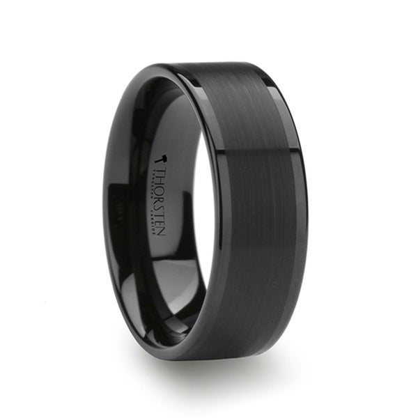 Thorsten Flat Black Tungsten Ring with Brushed Center & Polished ...