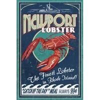 Newport, RI - Lobster Vintage Sign - LP Artwork (Art Print - Multiple Sizes)