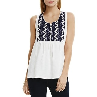 Two by Vince Camuto Womens Peasant Top Slub Lace Bib