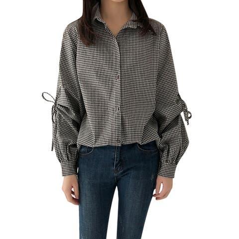 QZUnique Women's Summer Blouse Lattice Pattern Long Puff Sleeve Lace Up Loose T Shirt