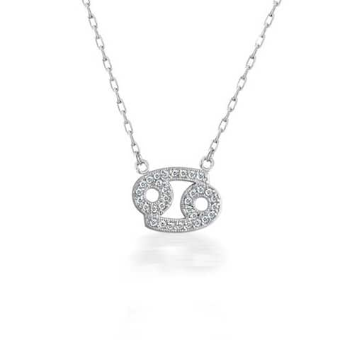 Bling Jewelry CZ Pave Cancer Zodiac Sign Pendant Sterling Silver Necklace 16 Inches
