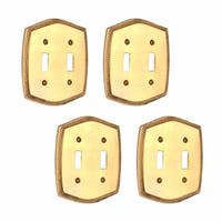 4 Switchplate Bright Solid Brass Double Toggle