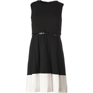 Calvin Klein Womens Petites Colorblock Pleated Wear to Work Dress