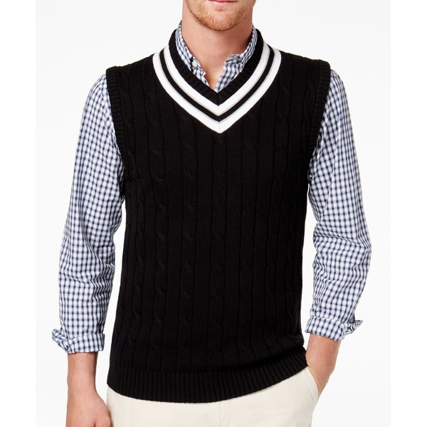Club Room Mens V Neck Cable Knit Cricket Vest Sweater