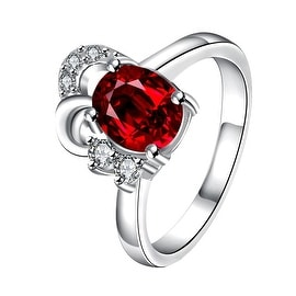 Petite Ruby Red Curved Jewels Covering Classic Ring