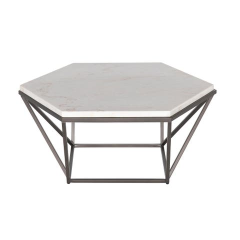 Porch & Den Crandall White Marble Top Coffee Table