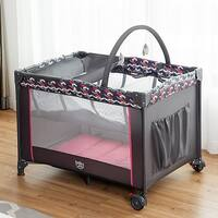 Babyjoy Folding Travel Baby Crib Playpen Infant Bassinet Bed Changing Table w/Baby Toys - Grey