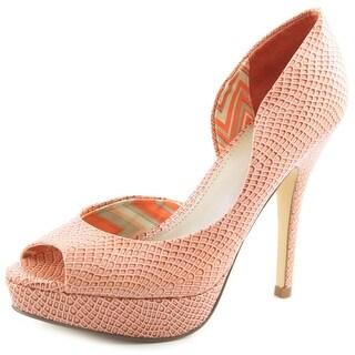 Fergalicious Eileen Women Open Toe Synthetic Orange Platform Heel