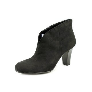 A2 By Aerosoles Gold Role Women Round Toe Canvas Black Bootie