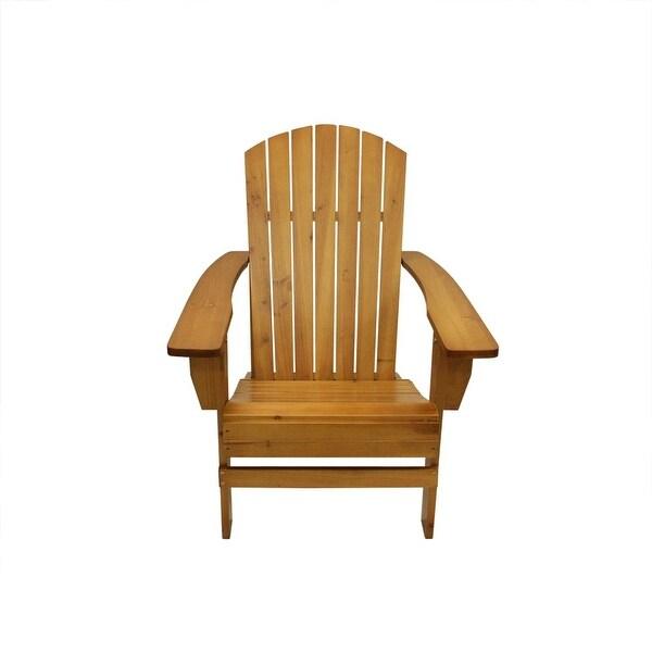 "37"" Natural Wood Outdoor Patio Adirondack Chair"