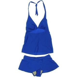 Maternal America Womens Layered Halter Tankini Swimsuit - XS