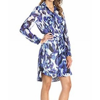 Eliza J NEW Blue White Womens Size 12 Belted Button Down Shirt Dress