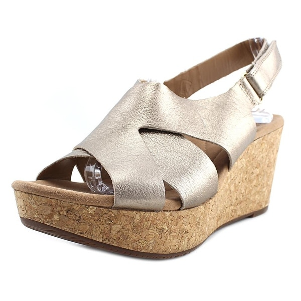 Clarks Annadel Fareda Women Open Toe Leather Gold Wedge Sandal