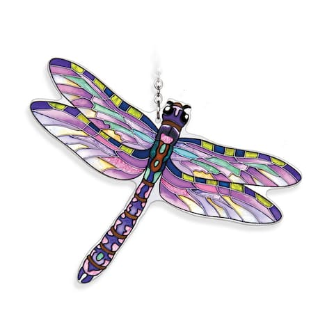 "Purple Flame Skimmer Dragonfly Handcrafted Glass Wall Art Decor 6.5"" x 5"""
