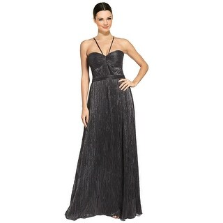 Laundry By Shelli Segal Metallic Crinkle Textured Spaghetti Strap Evening Gown Dress - 0