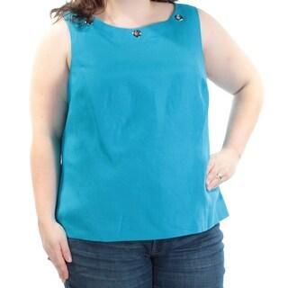 KASPER $59 Womens New 1138 Blue Grommet Trim Sleeveless Top 24W Plus B+B