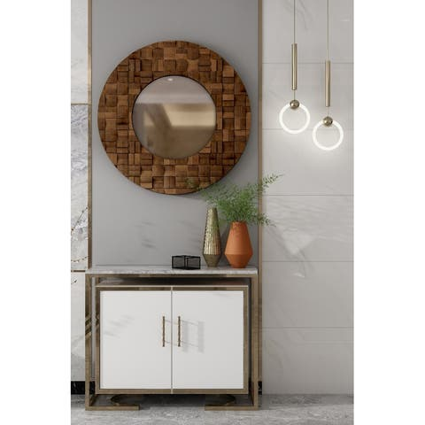 "Alise Natural Wood Wall Mirror - 36""R"