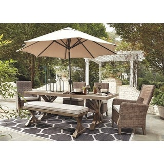 Link to Sandestria Dining Table with Umbrella Option by Havenside Home Similar Items in Patio Furniture