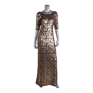 Laundry by Shelli Segal Womens Sequined Side Slit Evening Dress