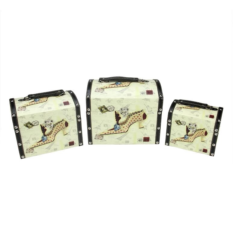 Set of 3 Vintage-Style Stiletto Decorative Wooden Storage Boxes 10 - N/A