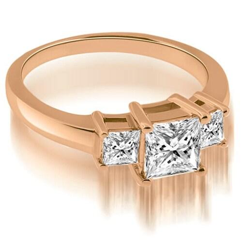 1.15 cttw. 14K Rose Gold Basket Three Stone Princess Diamond Engagement Ring