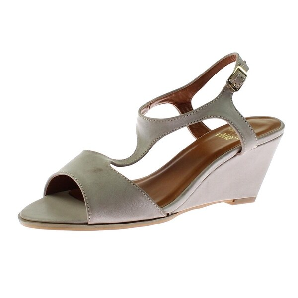 d1dc08bfb Shop Alexis Leroy Womens Wedge Sandals Faux Leather T-Strap - 38 medium  (b