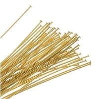 Head Pins, 2 Inches Long and 24 Gauge Thick, 50 Pieces, Gold Tone Brass