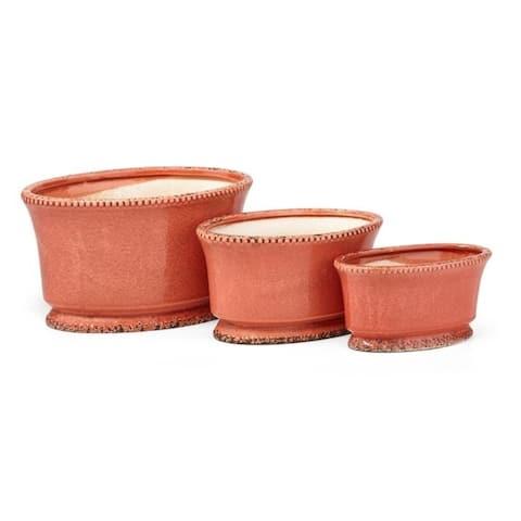 """Set of 3 Orange Marcella Ceramic Planters 13"""""""