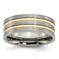 Titanium Grooved Gold-plated 8mm Brushed & Polished Band