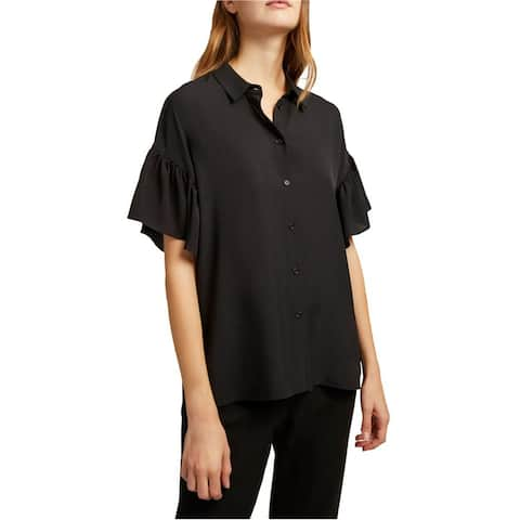 French Connection Womens Ruffle Sleeve Button Up Shirt, black, Medium