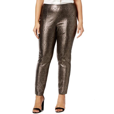 Alfani Women's Gold Size 20W Plus Metallic Print Dress Pants Stretch