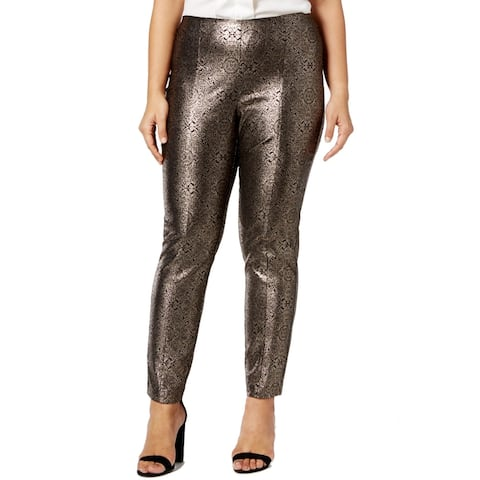 Alfani Women's Pants Gold Size 14W Plus Skinny Leg Printed Stretch