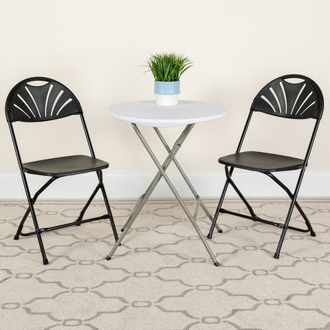 2PK 650 lb. Rated Plastic Fan Back Folding Chair-Commercial & Event Chairs