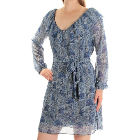 8b30067d5aa8 MICHAEL KORS Womens Blue Belted Printed Long Sleeve V Neck Above The Knee  Fit + Flare