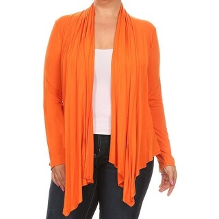Women Plus Size Long Sleeve Jacket Casual Cover Up Orange