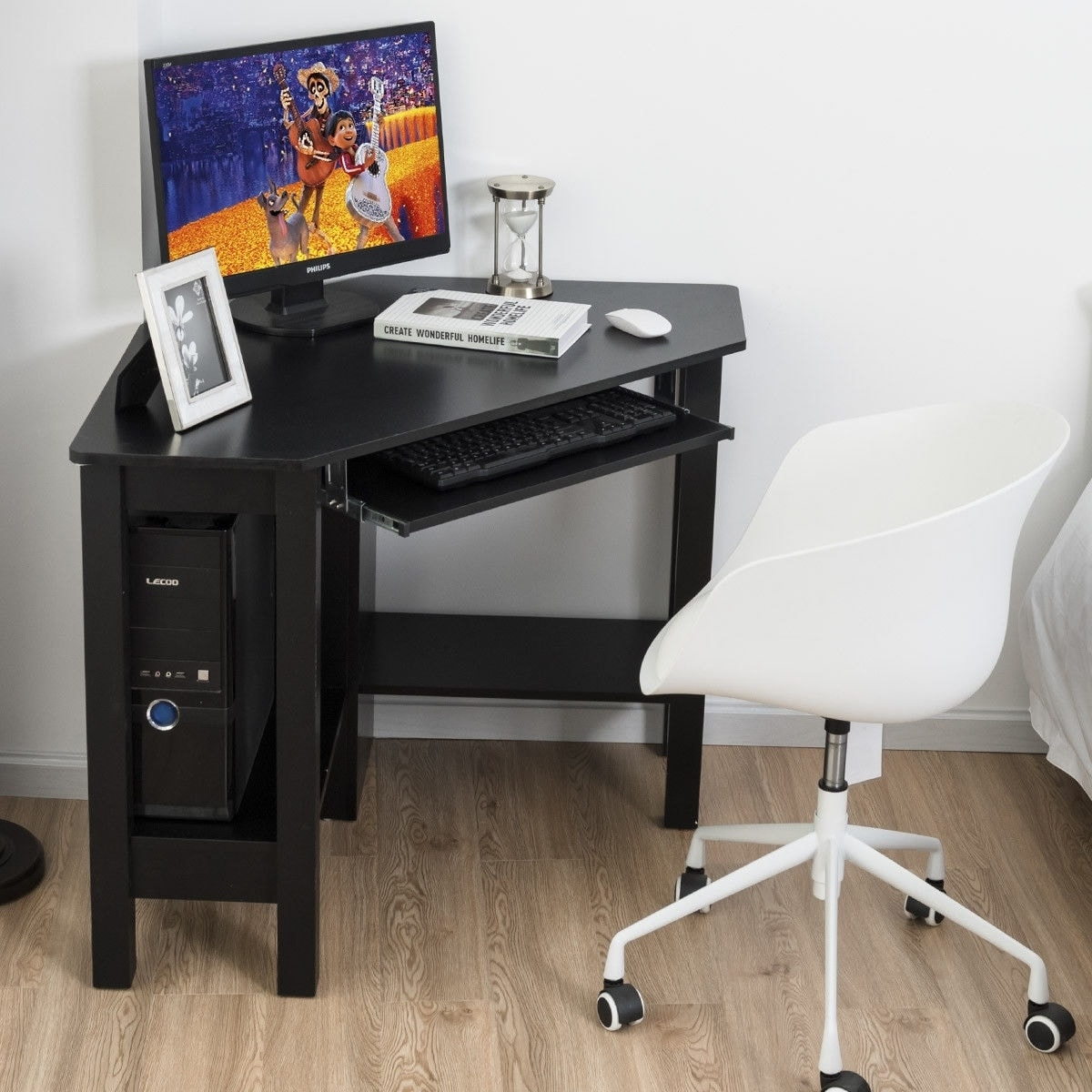 Wooden Study Computer Corner Desk with Drawer - Coffee