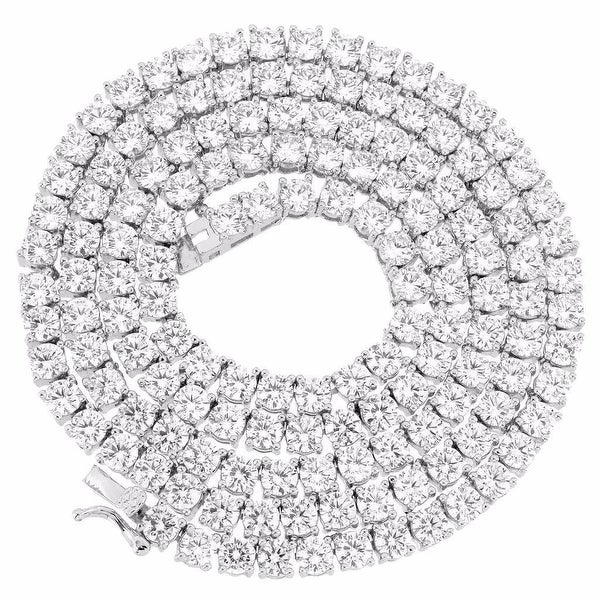 """Silver Tone 1 Row 3MM Simulate Diamond Iced Out Chain 24"""" HipHop Tennis Necklace"""