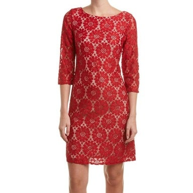 27dbedcdbdd6 Shop Jessica Howard NEW Red Nude Crochet Lace Women's Size 12 Sheath Dress  - Free Shipping On Orders Over $45 - Overstock - 18948482